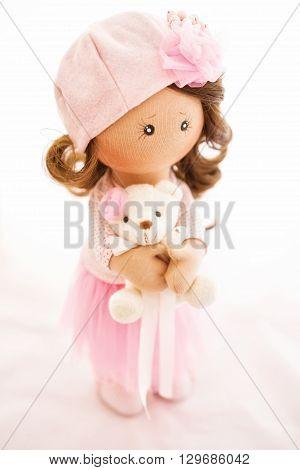 Rag Doll Textile Handmade With Natural Hair