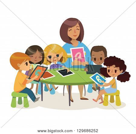 Group of Happy Children and Tiitor with tablets sitting on a desk. School lesson illustration. Preschool lesson.  Contemporary education using the devices. Vector. Isolated.