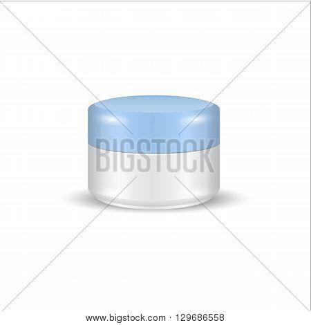 Cream Gel Or Powder Light Blue White Jar Can Cap Bottle