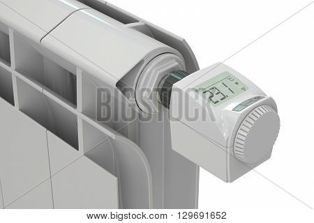heating radiator with digital radiator thermostatic valve 3D rendering