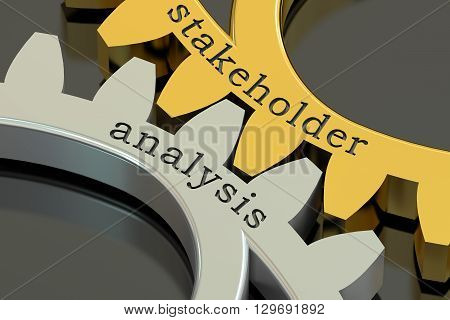 stakeholder analysis concept on the gearwheels 3D rendering