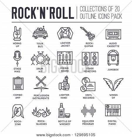 ROCK N ROLL circle outline icons collection set.  Music equipment linear symbol pack. Modern template of thin line icons, logo, symbols, pictogram and flat illustrations