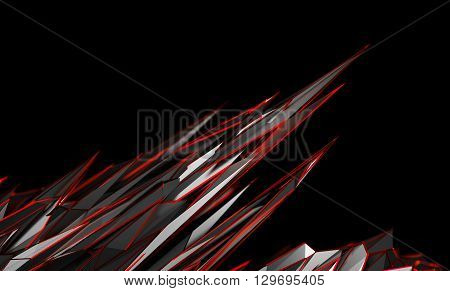Abstract 3d rendering of chaotic surface. Background with futuristic polygonal shape. Noisy low poly metallic object.