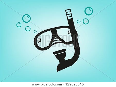 Scuba Diving Mask and Breathing Apparatus. Editable Clip Art.
