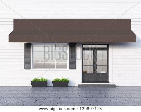 Front view of white plank cafe exterior with brown canopy. 3D Rendering