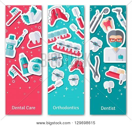 Set of Vertical Banners about Dentistry with Flat Sticker Icons. Vector illustration. Dental Care, Orthodontics and Dentist.