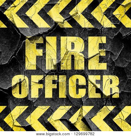 fire officer, black and yellow rough hazard stripes