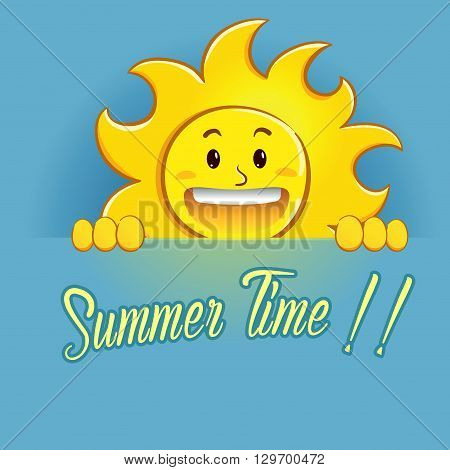 Vector stock of happy sun holding summer time sign