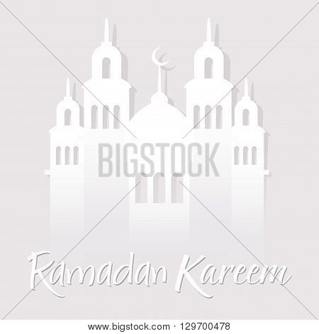 Vector stock of ramadan kareem greetings with mosque paper cuts