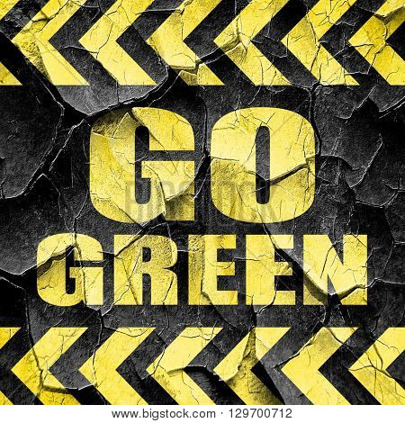 go green, black and yellow rough hazard stripes