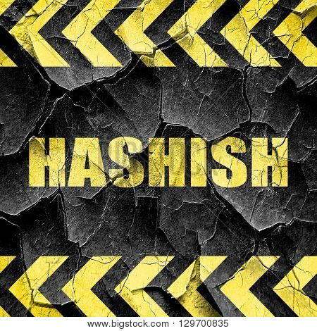 hashish, black and yellow rough hazard stripes