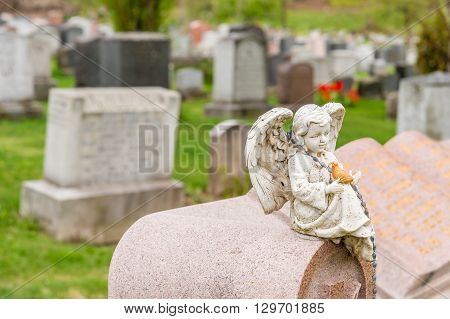 Statue Of Cherub Holding A Bird And Sitting On A Headstone In A Military.