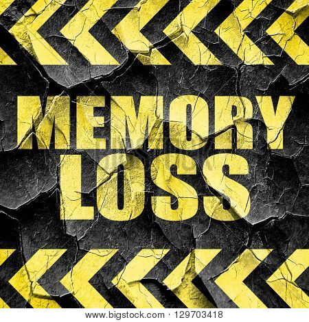 memory loss, black and yellow rough hazard stripes