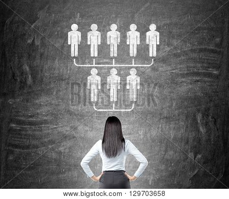 Delegate concept with businesswoman looking at hierarchy sketch on chalkboard
