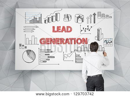 Lead generation concept with businessman drawing business sketches on whiteboard