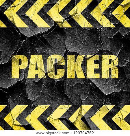 packer, black and yellow rough hazard stripes