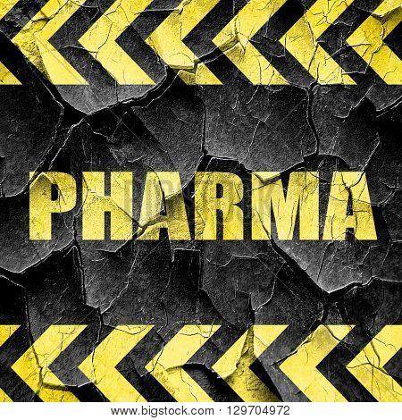 Pharma, black and yellow rough hazard stripes