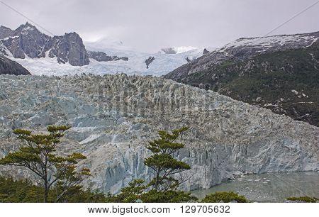 Pia Glacier view from above in Tierra del Fuego in Patagonia