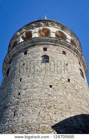 The Galata Tower in Istanbul Turkey and blue sky