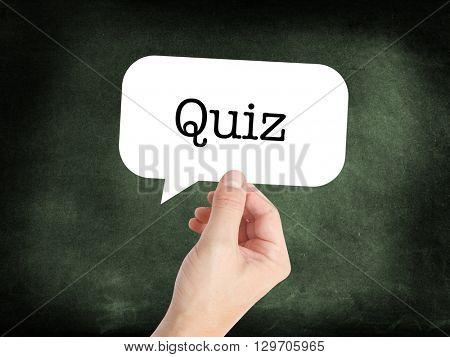 Quiz written on a speechbubble