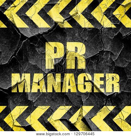pr manager, black and yellow rough hazard stripes