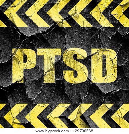 ptsd, black and yellow rough hazard stripes