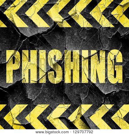 Phising fraud background, black and yellow rough hazard stripes