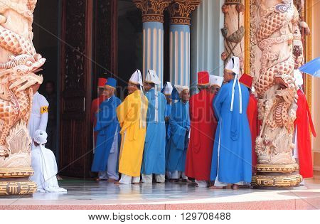 Tay Ninh Vietnam - March 8 2013 : Monks Cao Dai Temple