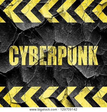 cyberpunk, black and yellow rough hazard stripes