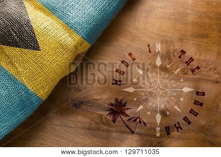 Made in Bahamas. The national flag of Bahamas stylized sackcloth.
