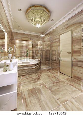 Elegant bathroom interior with jacuzzi and shower. 3d render