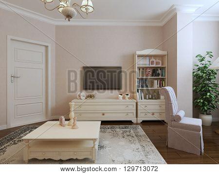 Provence living room design. TV and classic furniture, bookshelves. 3d render