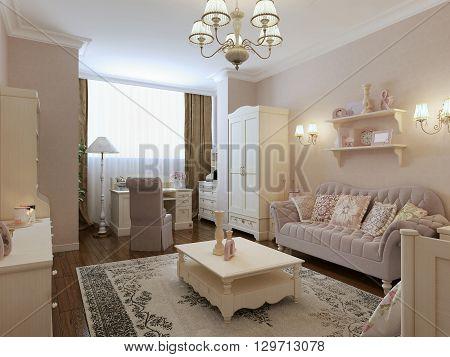 Classic living room interior in cream colors. 3d render