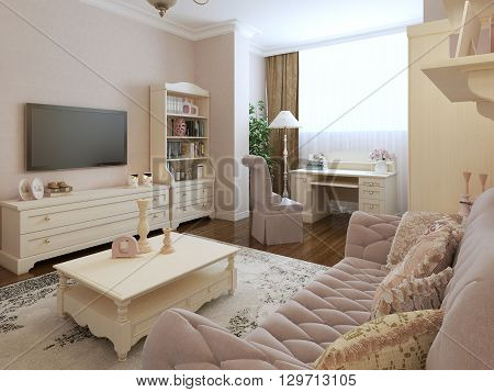 Classic living room interior design with work table. 3d render