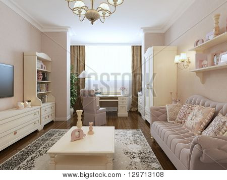 Spacious bedroom in renaissance style. 3d render