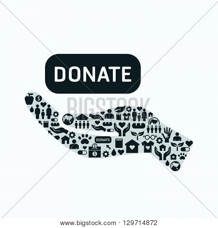 Elements are small icons charity and donation on silhouette hand shape.Vector illustration. concept.