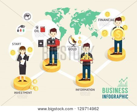 Business investment funds board game flat line icons concept infographic startup step to successfulvector illustration