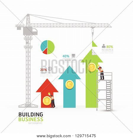 Infographic business arrow graph template design.building to success concept vector illustration / graphic or web design layout.