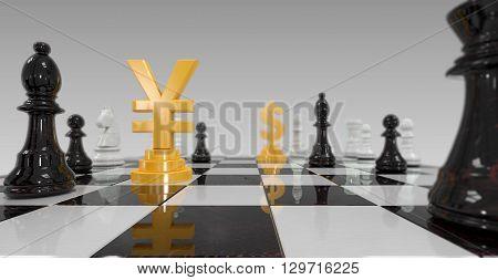 3d illustration of yuan versus dollar on checkerboard