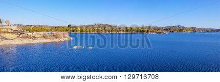 Panorama of the artificial lake created by the Povoa e Meadas Dam. Castelo de Vide, Alentejo, Portugal.