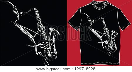 T-shirt with saxophonist - vector illustration