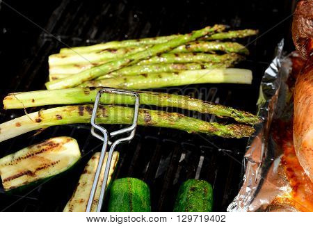 Grilled Asparagus And Zucchini On Barbecue