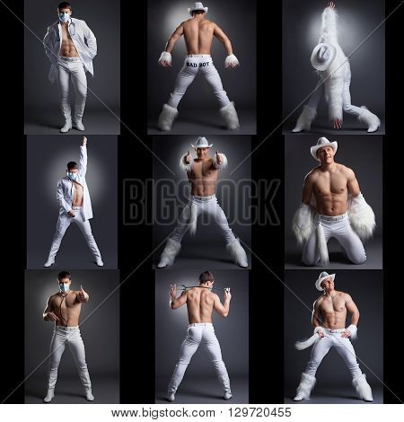 Photo collection of sexy showman dancing in studio, on gray backdrop