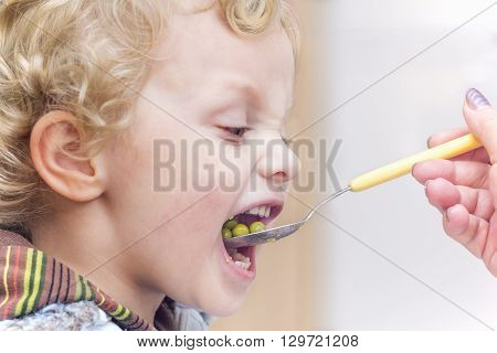 Mother's hand with spoon feeding little boy