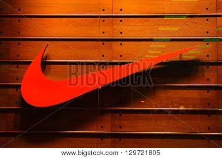 Bucharest, Romania, May 3, 2016: Nike logo. Nike, Inc. is an American corporation that is engaged in the design, development, manufacturing of footwear, apparel, equipment, accessories and services