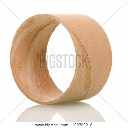 Empty toilet paper roll isolated on white background