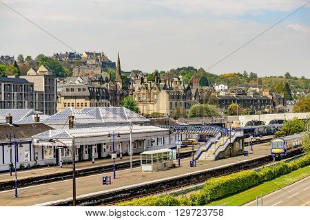 STIRLING SCOTLAND - MAY 09 2016: Stirling railway with Stirling Castle in distance in Scotland.