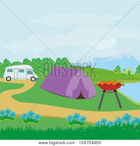 Picnic BBQ on rural landscape , vector illustration