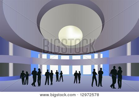 big hall vector with people