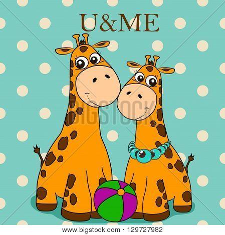 Greeting card u & me. Two cute giraffes on a beige peas (polka dot) background.